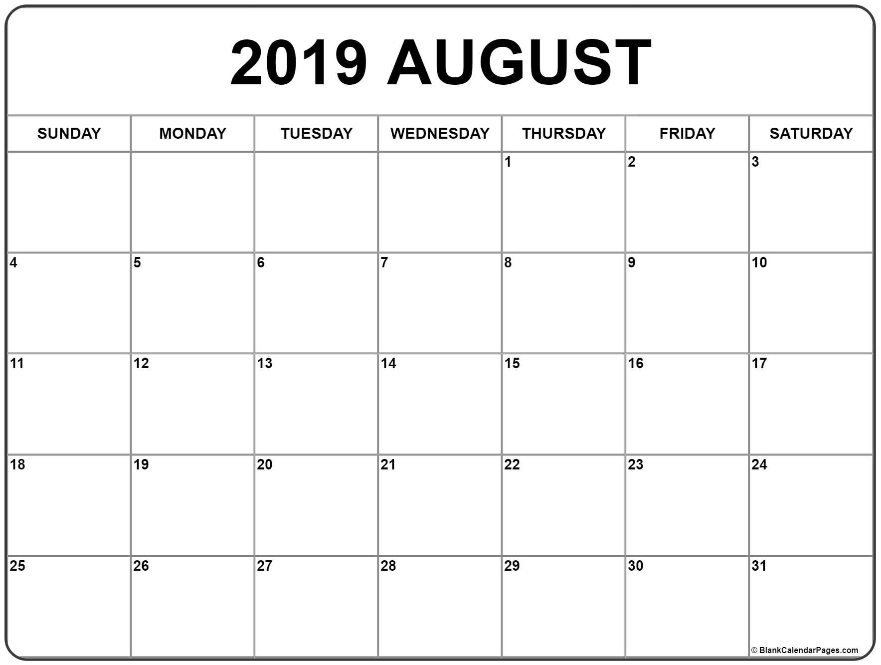 August 2019 Calendar | Free Printable Monthly Calendars  Small August 2020 Calendar