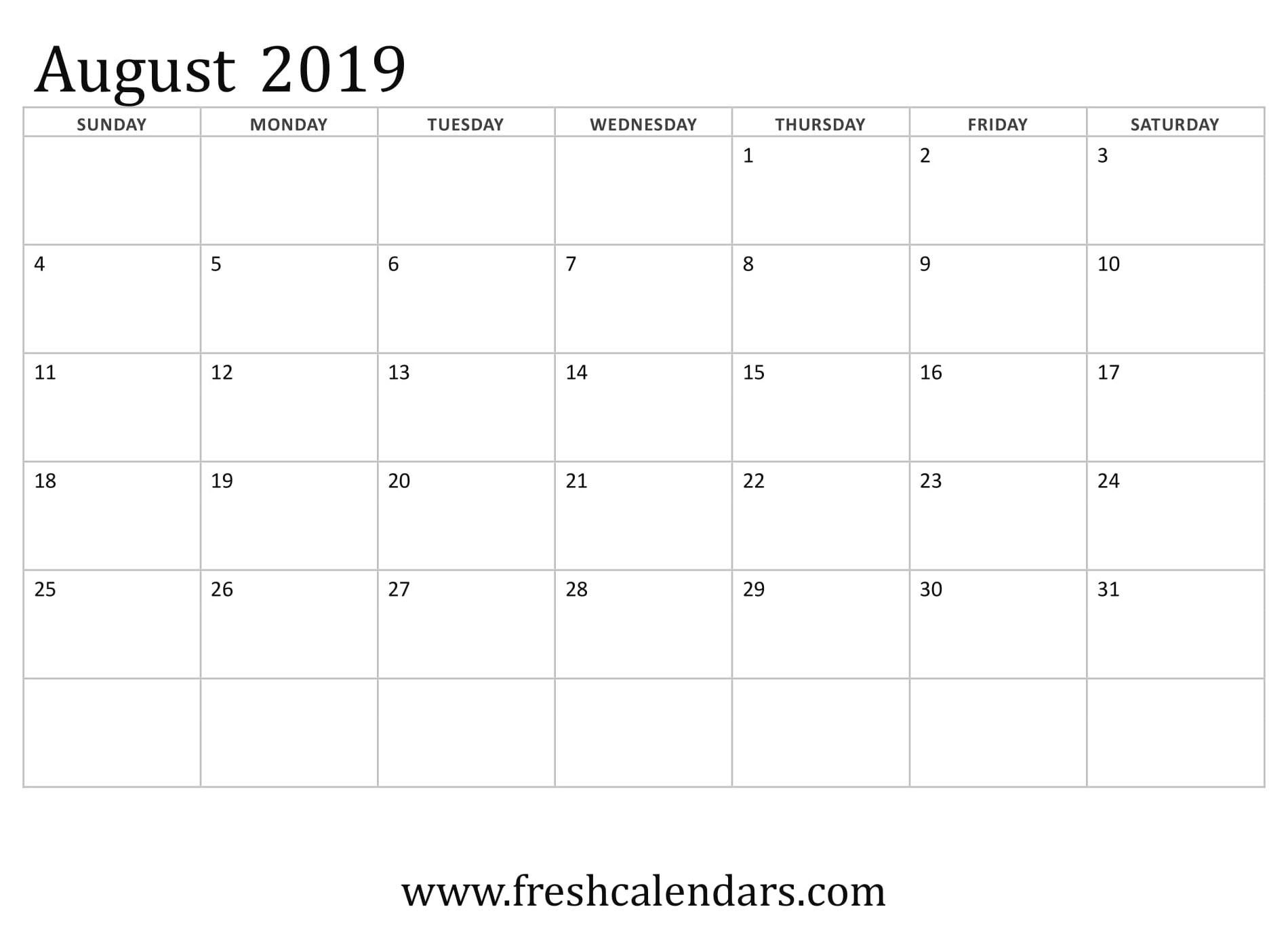 August 2019 Calendar Printable - Fresh Calendars  Monthly Calendar August  2020 8 X 11