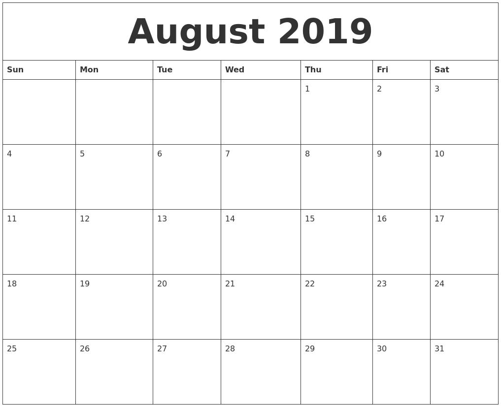 August 2019 Printable December Calendar  August - December