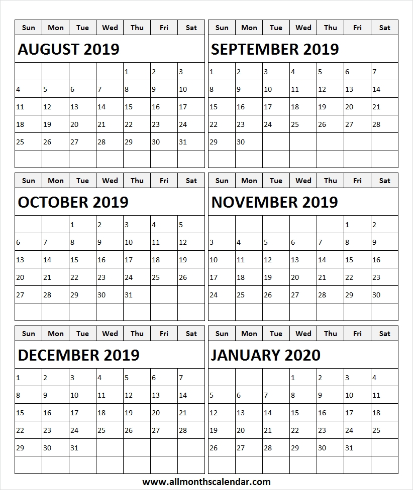 August 2019 To January 2020 Calendar Template | Print 2019  Aug - Dec 2020 Calendar