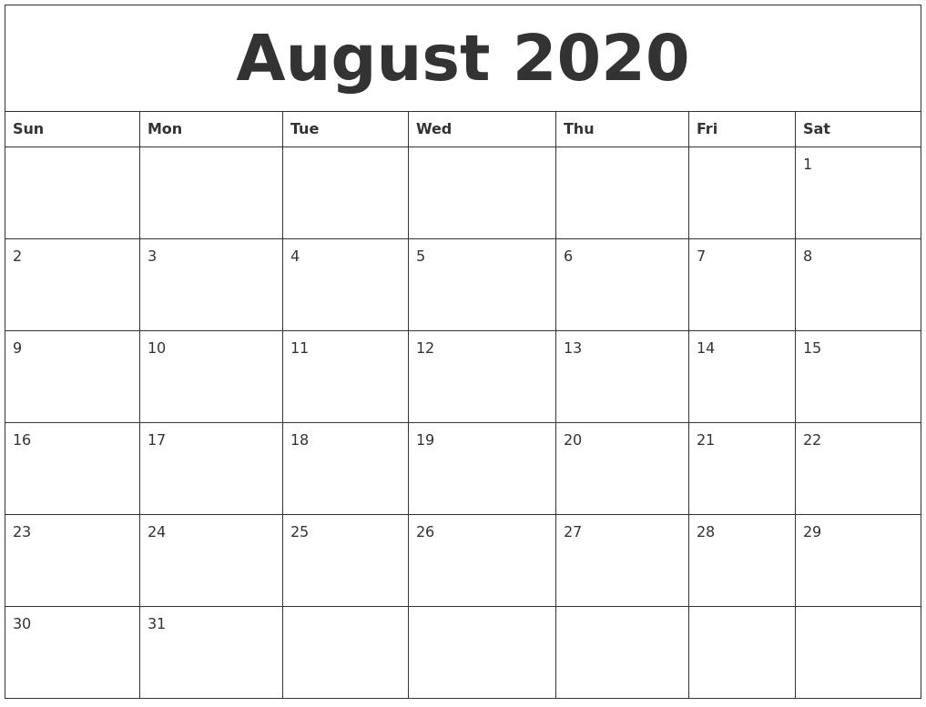 August 2020 Calendar  2020 Calendar August To December