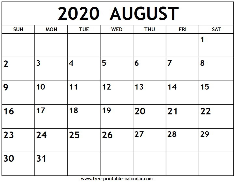 August 2020 Calendar - Free-Printable-Calendar  August 2020 Calendar With Lines
