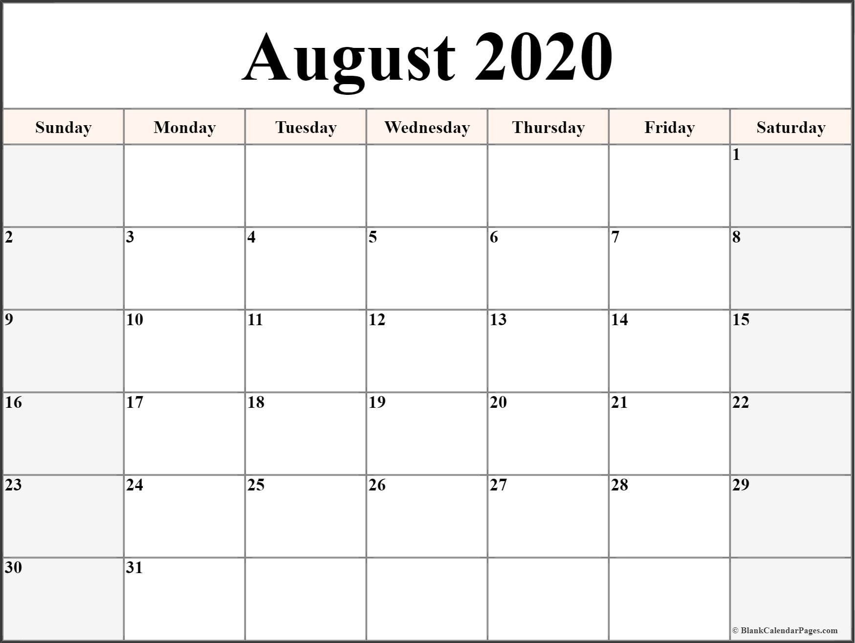 August 2020 Calendar | Free Printable Monthly Calendars  Calendar 2020 August To December Template
