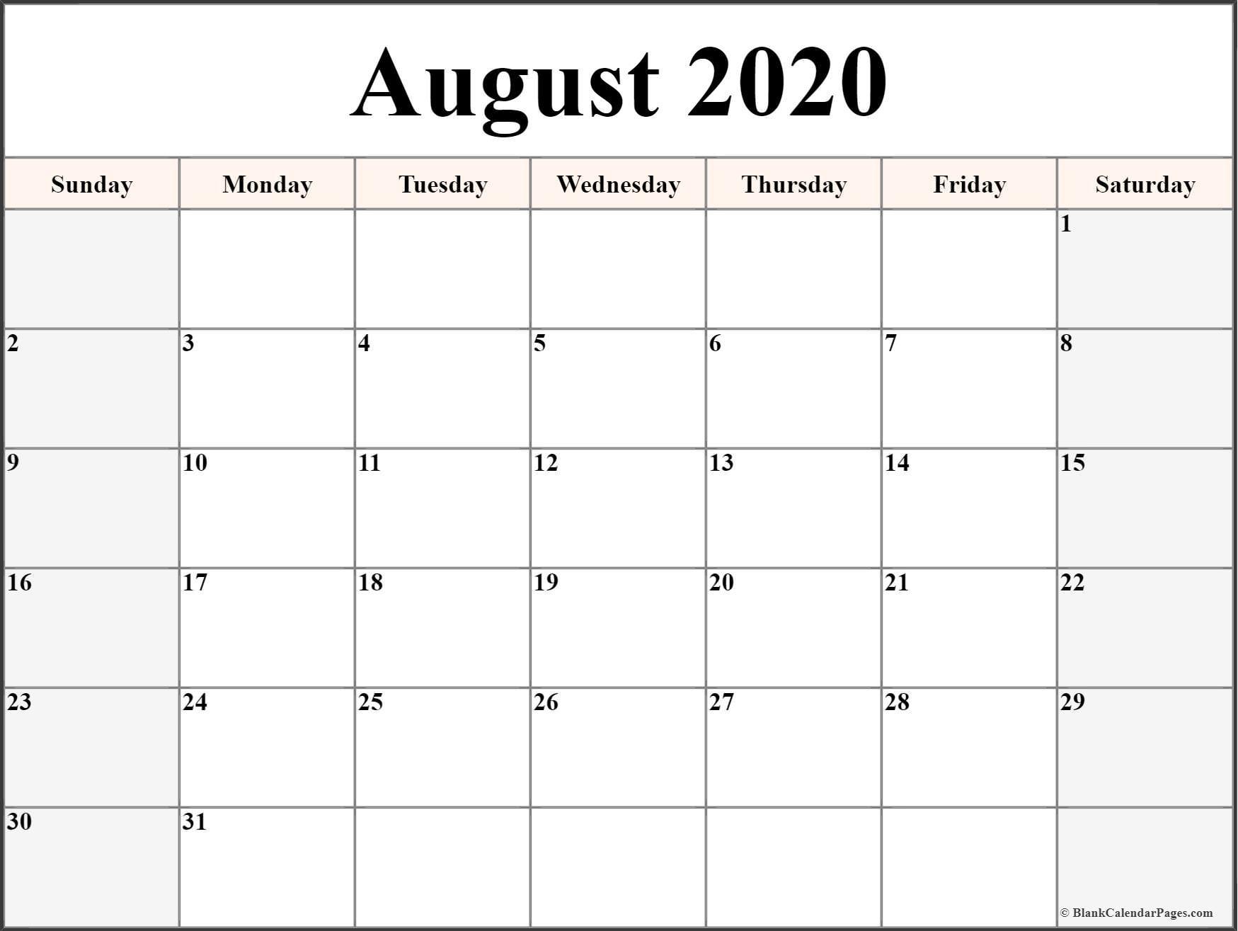 August 2020 Calendar | Free Printable Monthly Calendars  Calendar To Write On 2020
