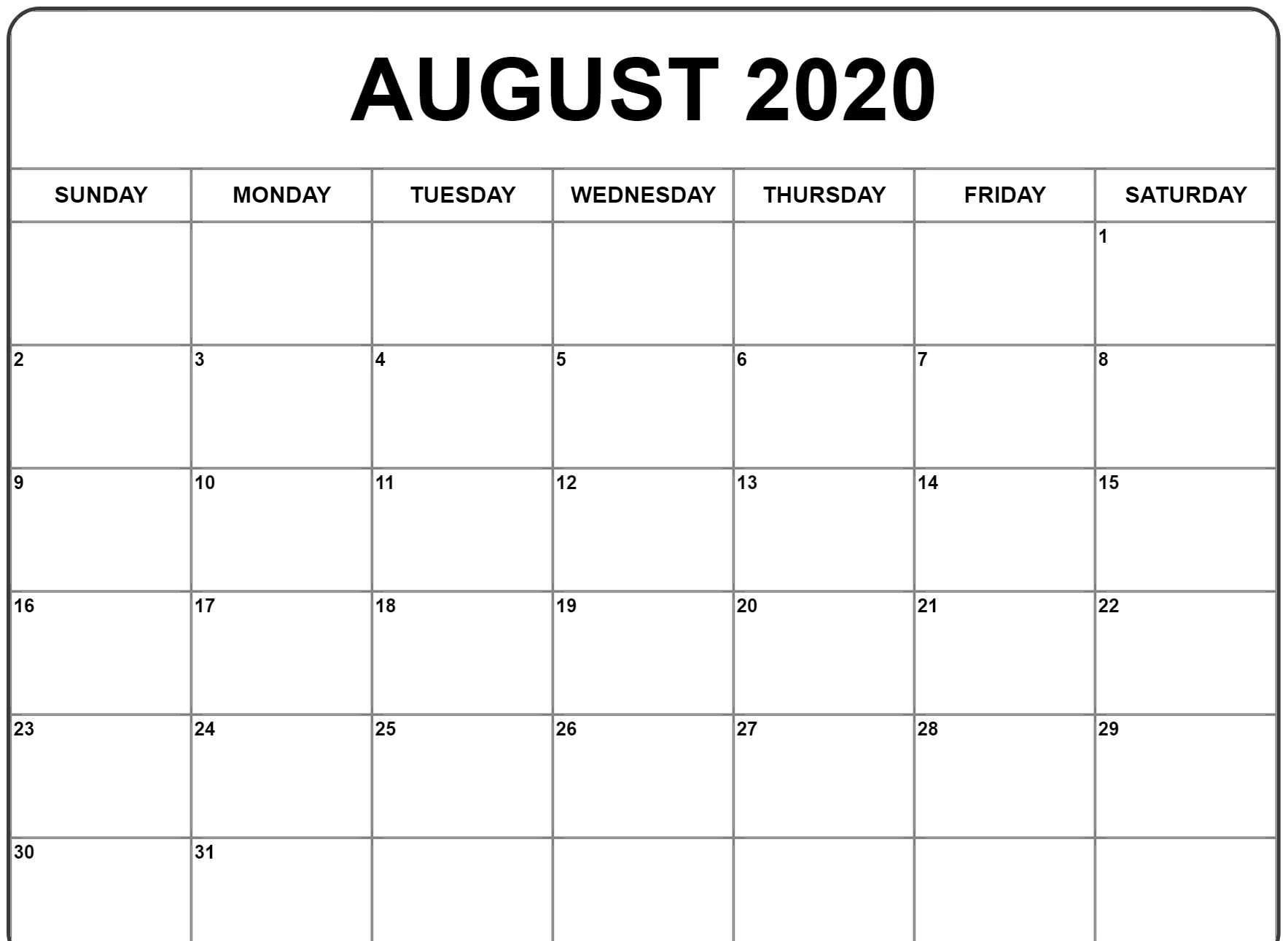 August 2020 Calendar Pdf, Word, Excel Printable Template  Calendar 2020 August To December Template