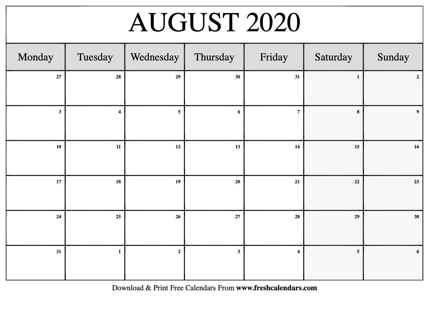 August 2020 Calendar Printable - Fresh Calendars  Calendar 2020 August To December Template