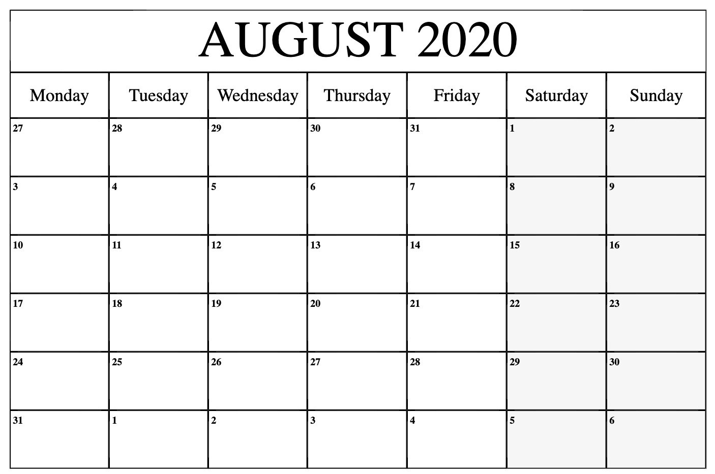 August 2020 Calendar Printable Template With Holidays  Calendar 2020 August To December Template