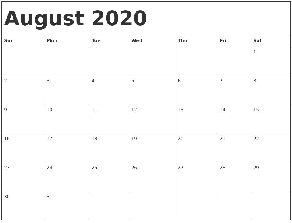 August 2020 Calendar Template  Calendar 2020 August To December Template
