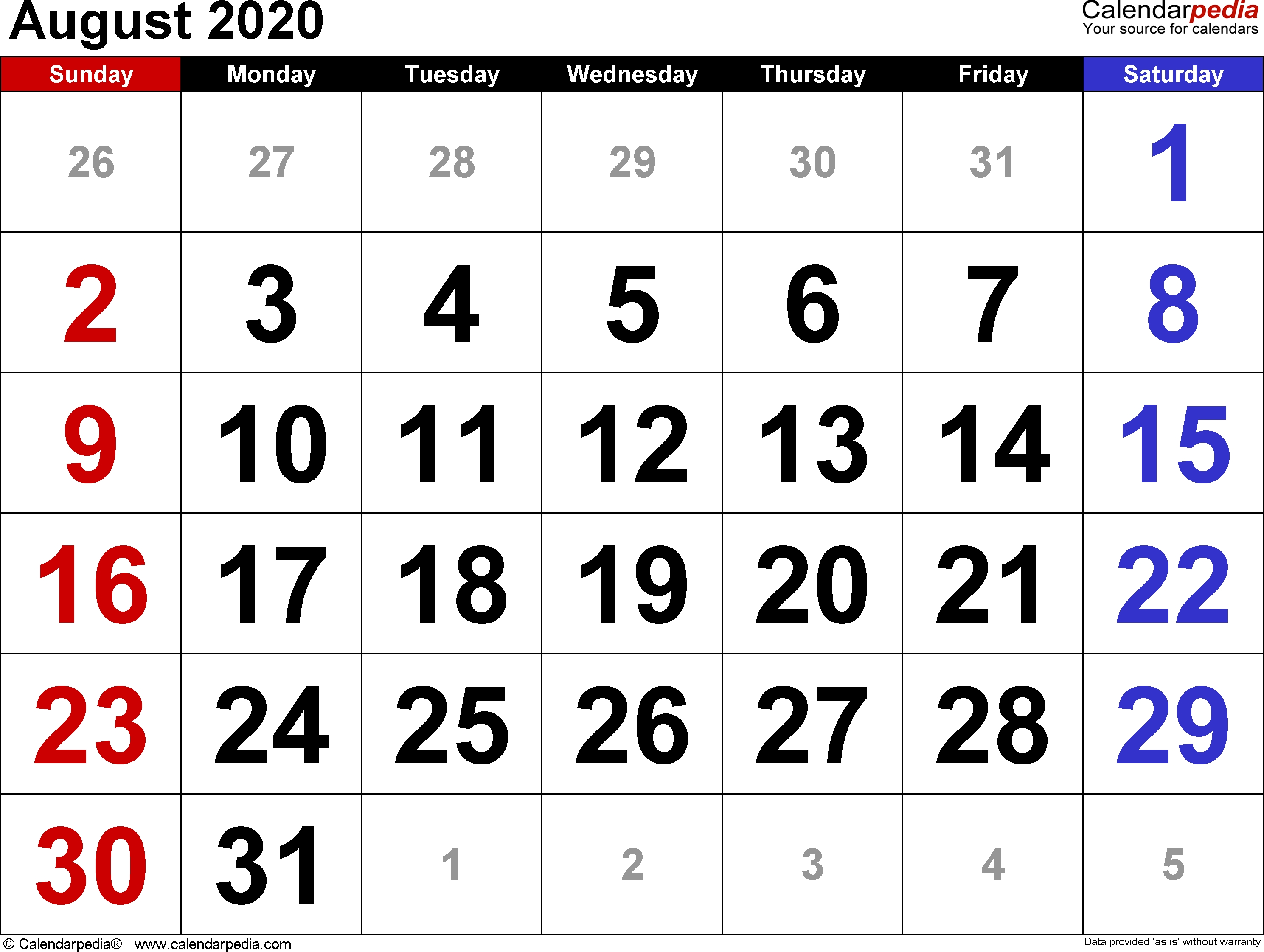 August 2020 Calendars For Word, Excel & Pdf  Calendar 2020 August To December Template