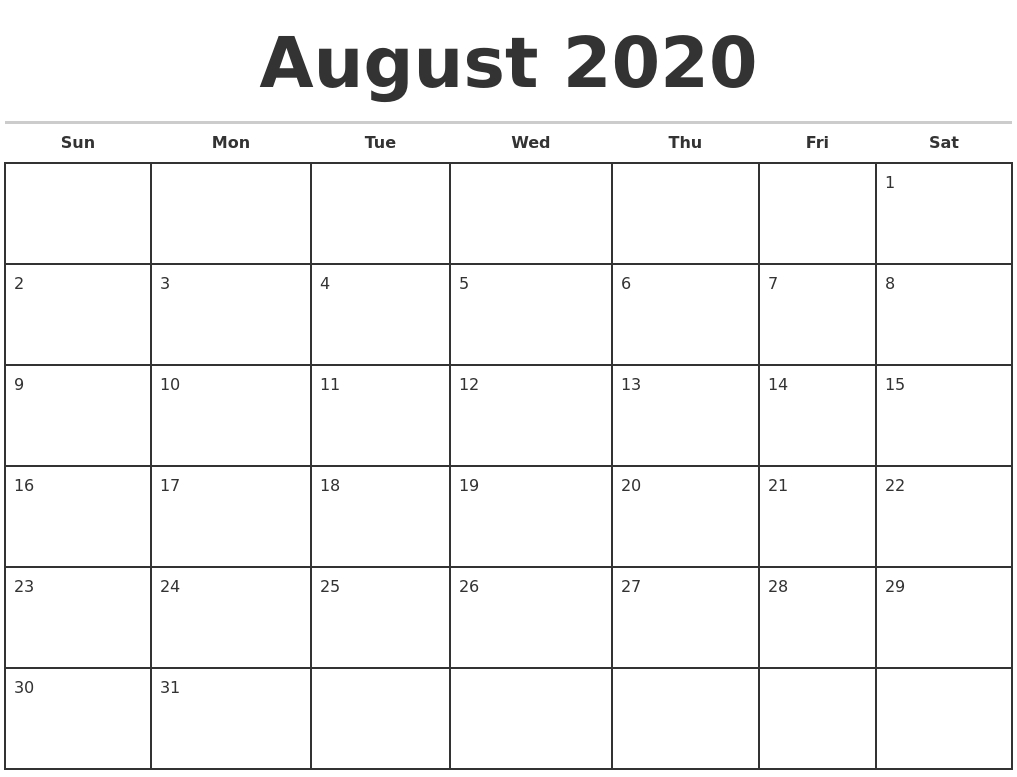August 2020 Monthly Calendar Template  Calendar 2020 August To December Template
