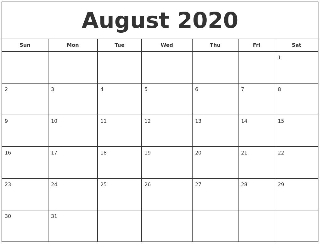 August 2020 Print Free Calendar  Calendar 2020 August-December