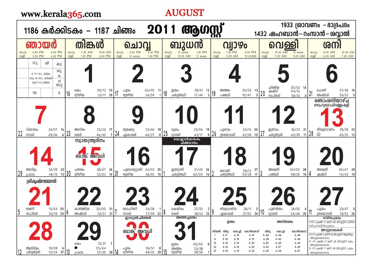 August Calendar 2011 | Jcreview  Mathrubhumi Calender August