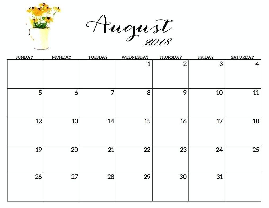 August Printable Calendar 2018 | Free Editable Calendar  Pretty Monthly Calendar