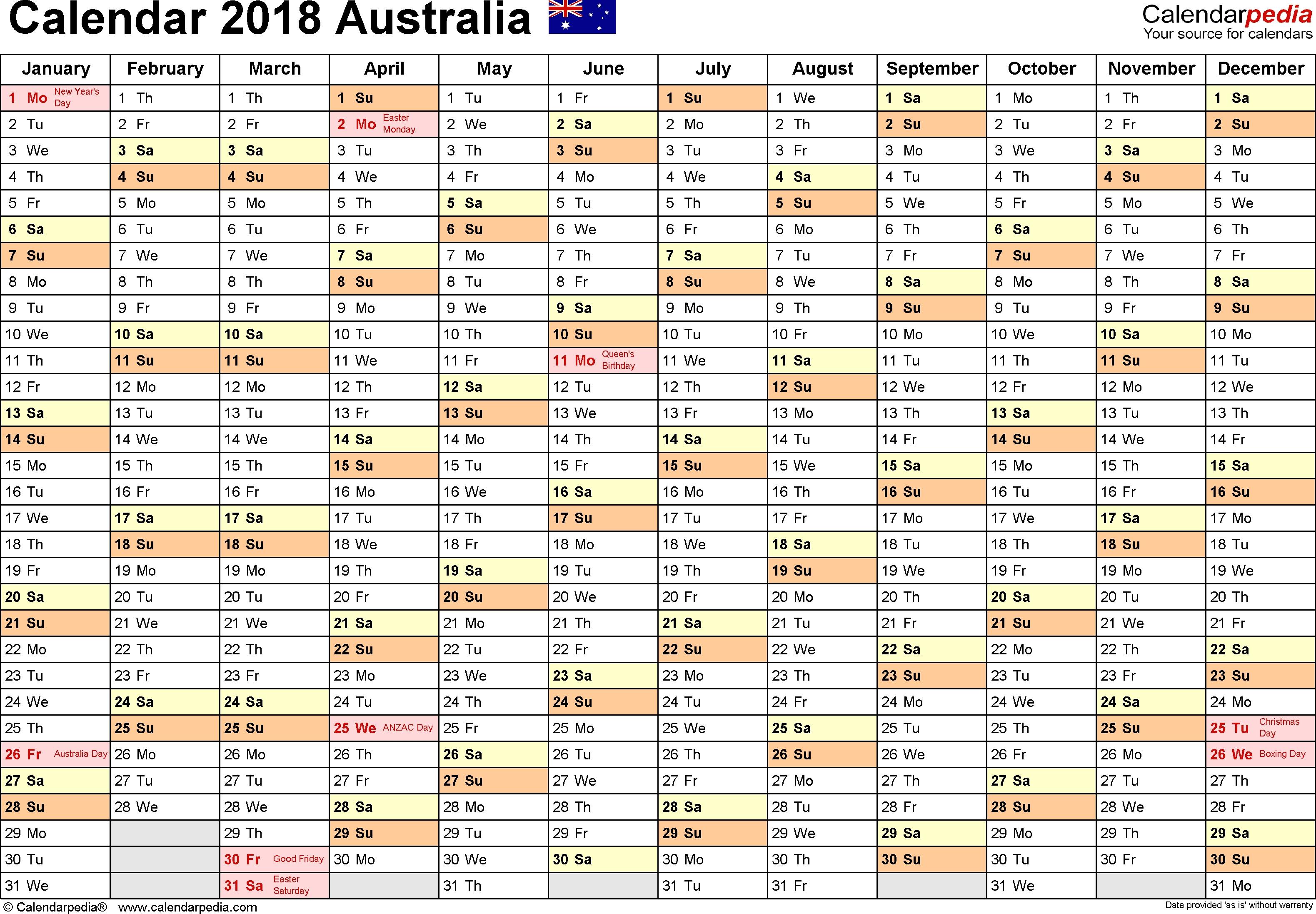 Australia Calendar 2018 - Free Word Calendar Templates  Australian Financial Year Calendar
