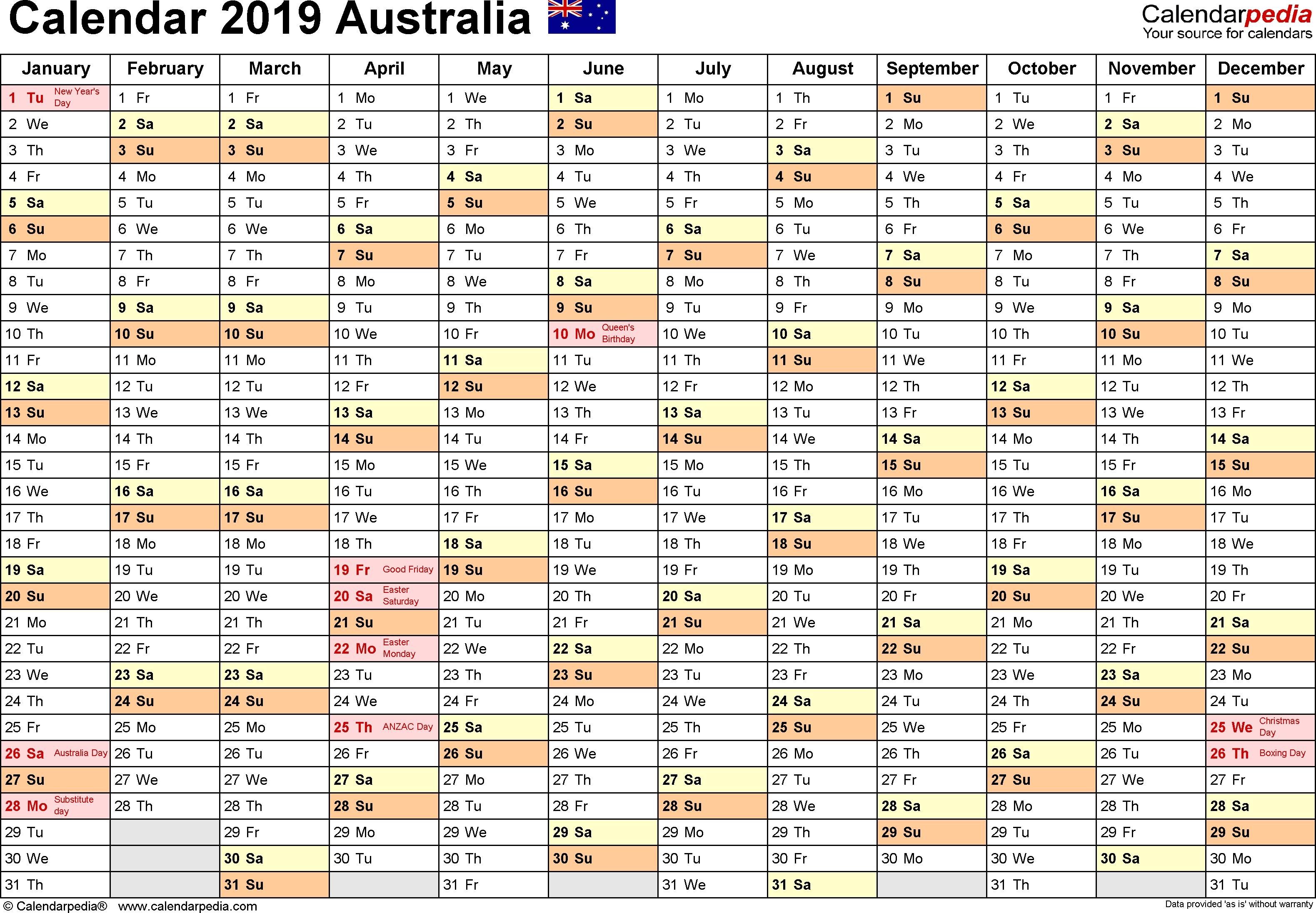 Australia Calendar 2019 - Free Printable Pdf Templates  Financial Year Australia Callendar