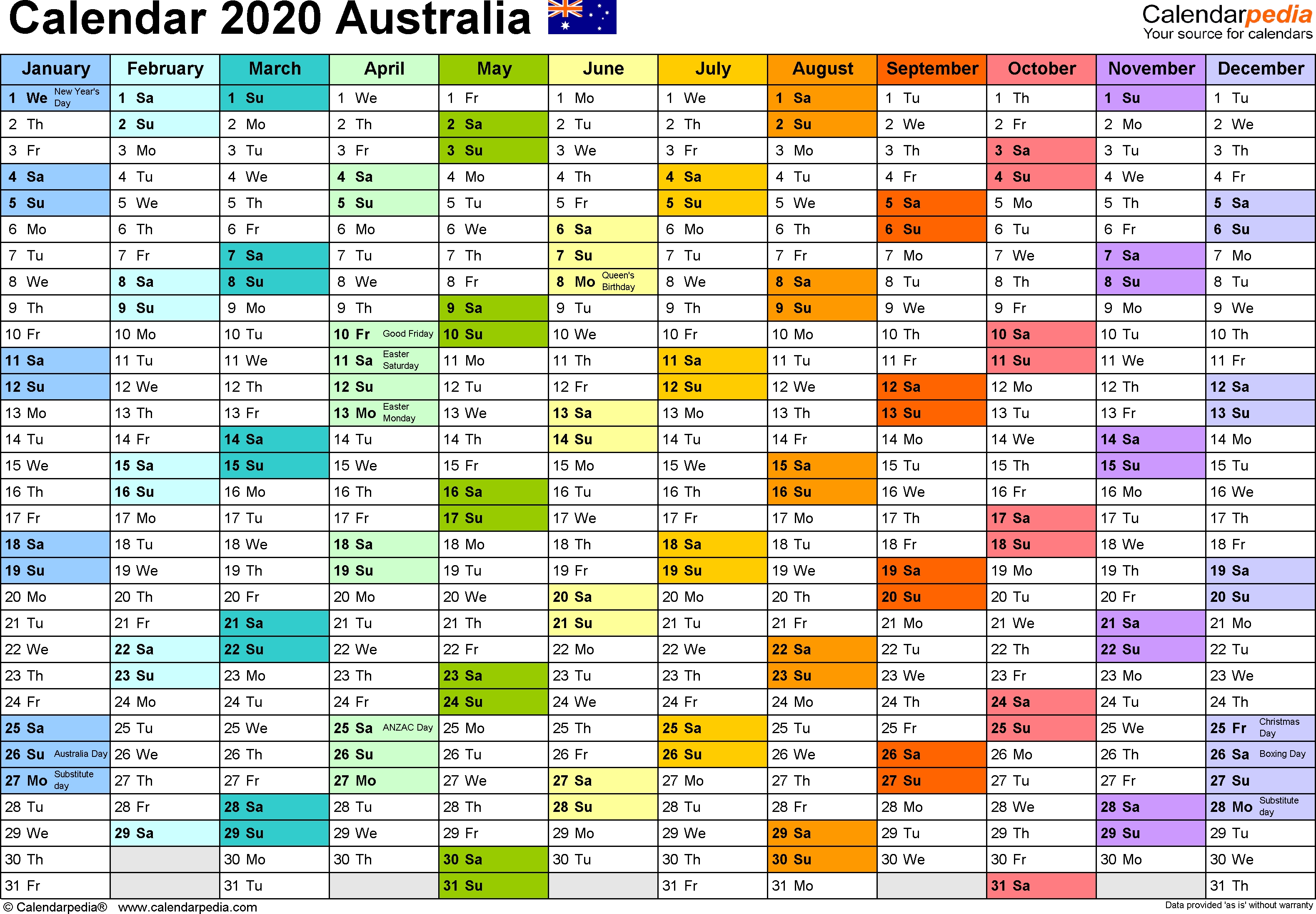 Australia Calendar 2020 - Free Printable Excel Templates  2020 2020 Financial Year Planner
