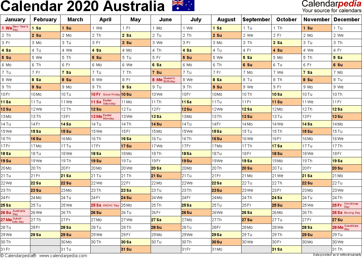 Australia Calendar 2020 - Free Printable Excel Templates  3 Month Per Page Calendar 2020