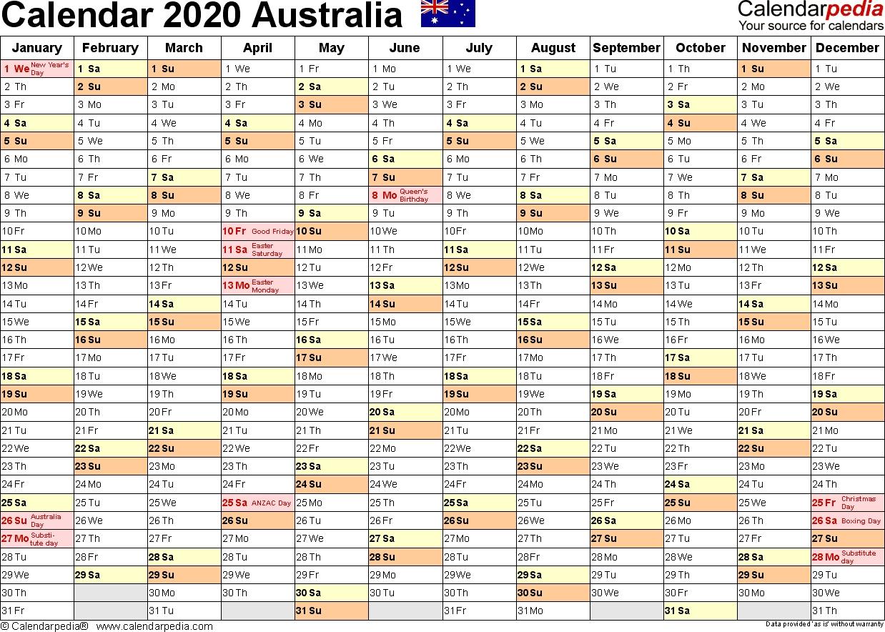 Australia Calendar 2020 - Free Printable Excel Templates  Financial Year Dates 2020 Australia