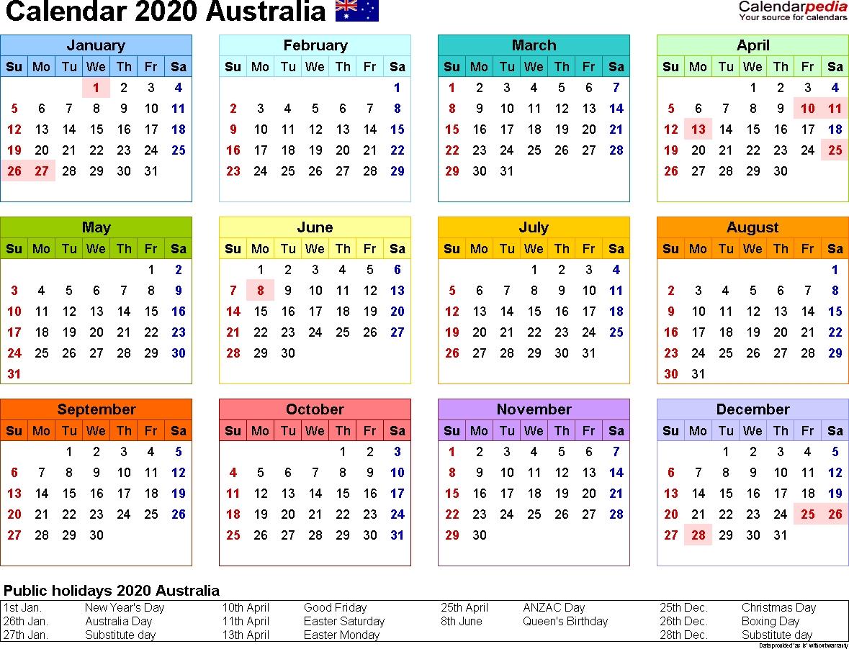 Australia Calendar 2020 - Free Printable Pdf Templates  3 Month Per Page Calendar 2020
