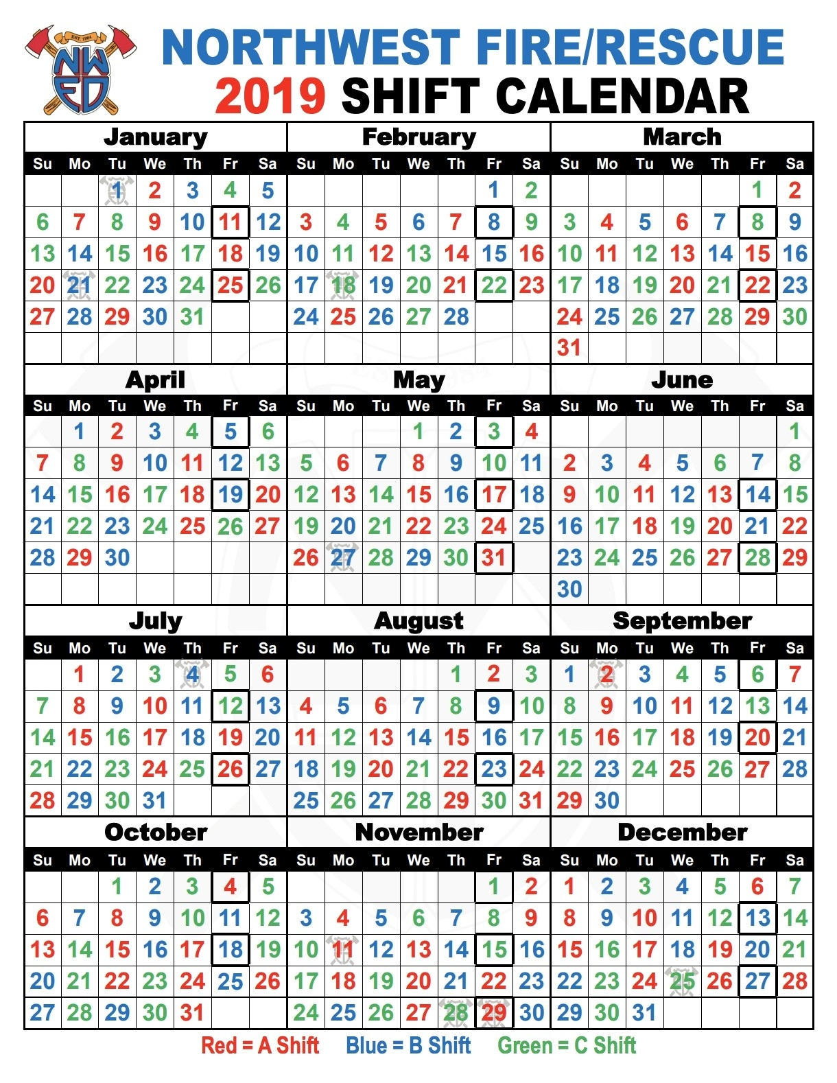 Awesome 20 Design Shift Calendar 2019 | Blank Calendar Templates  Riverside Fire Department Shift Calendar