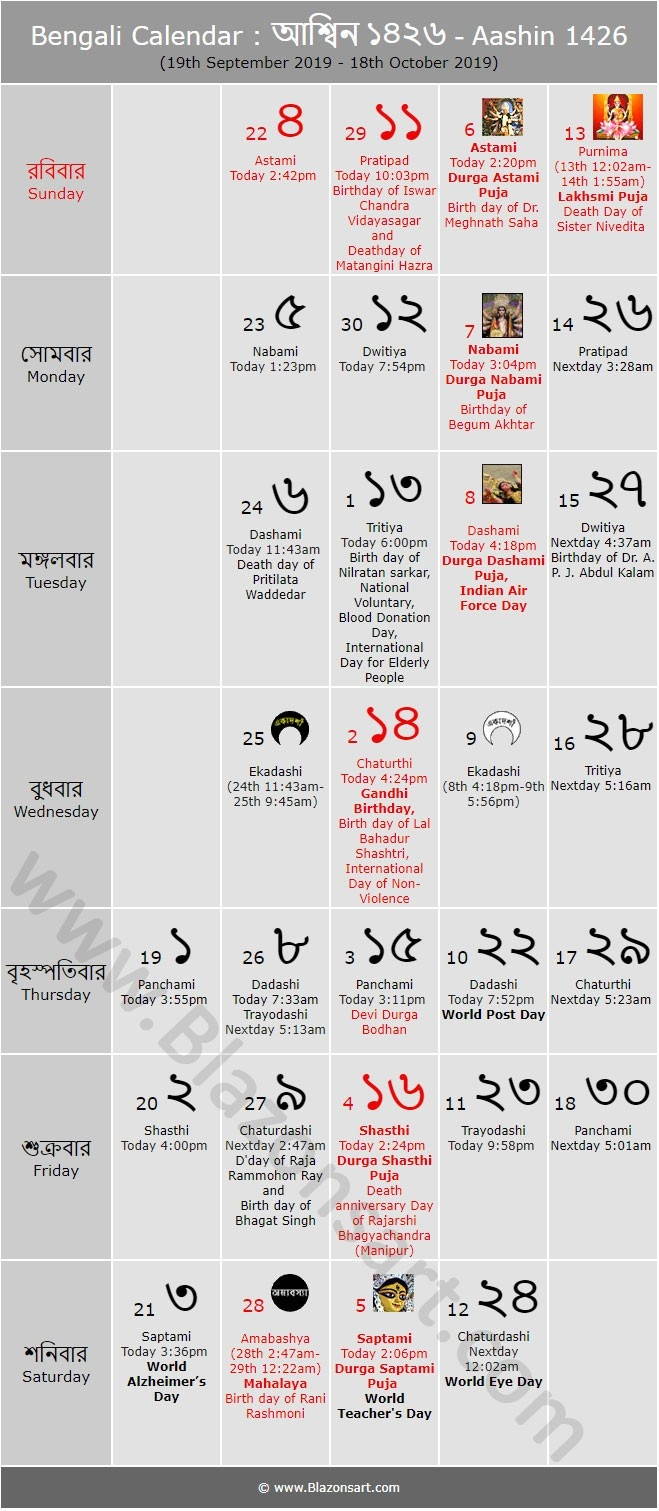 Bengali Calendar - Aashin 1426 : বাংলা  Septmber Calendar 2020 Thithi Hindi Me