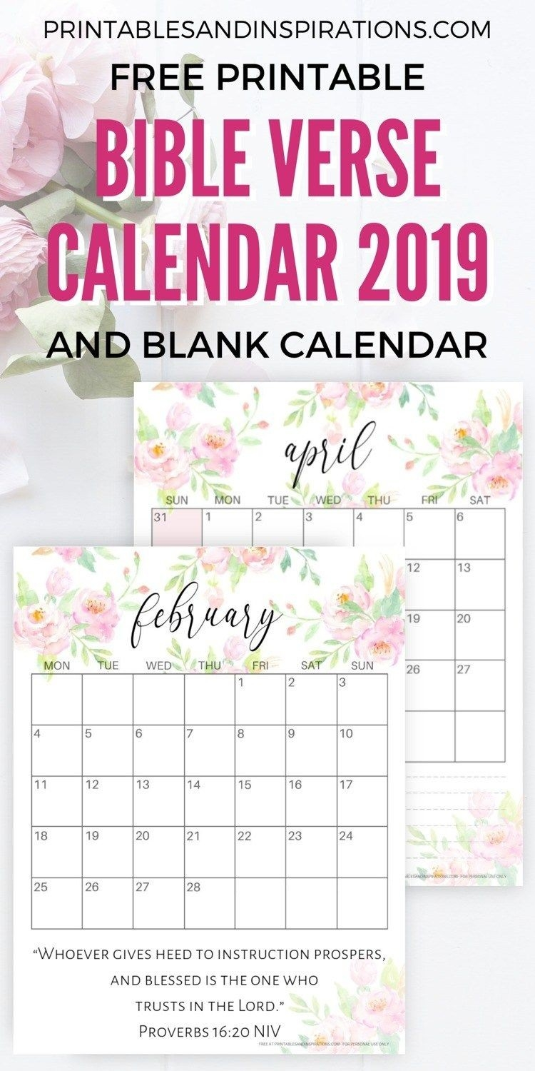 Bible Verse Calendar Printable For 2019 | All From  Printable Calendar 2020 With Scriptures