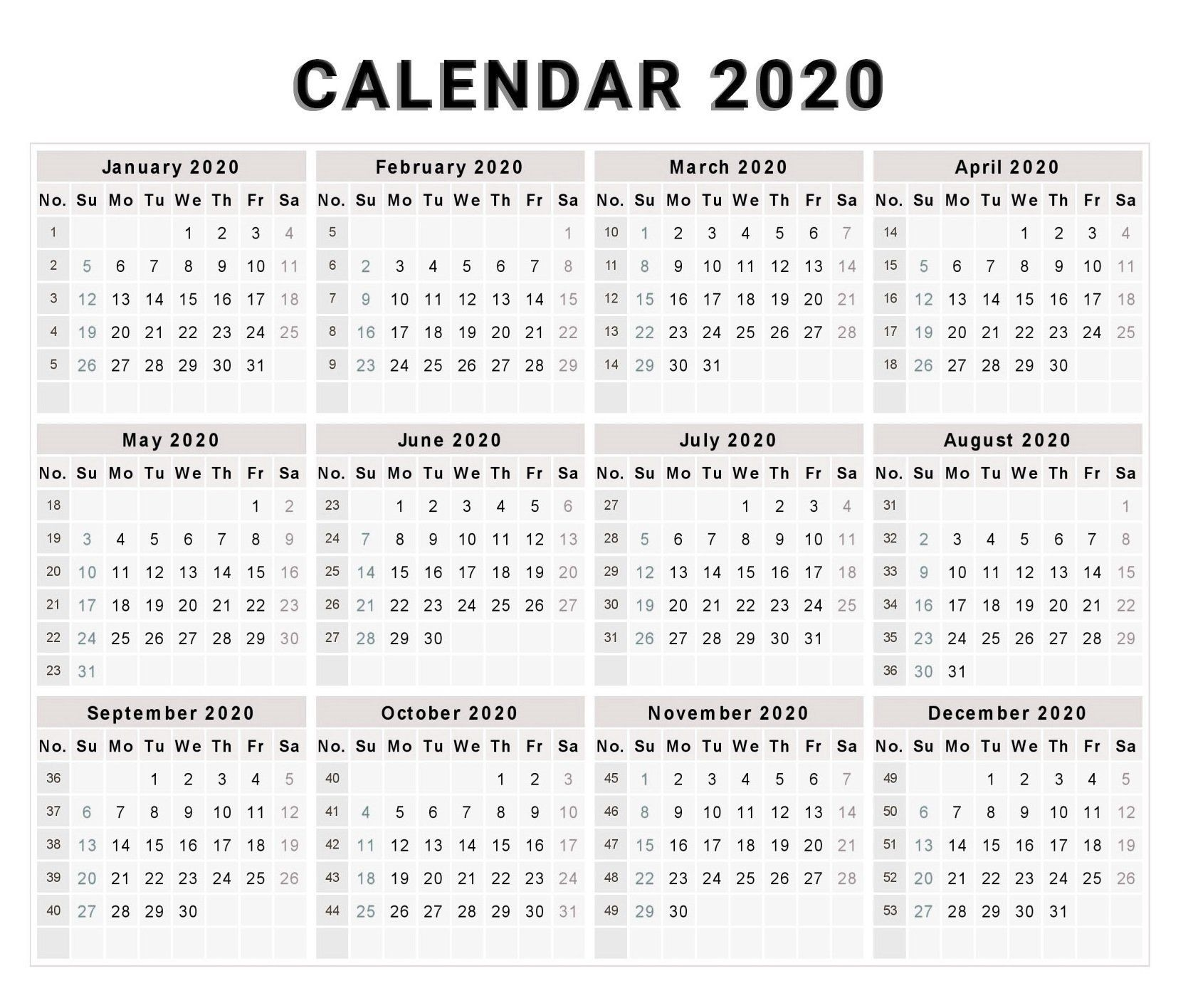 Blank 2020 One Page Calendar Printable | 2020 Calendars  Print Full Page Calendar 2020