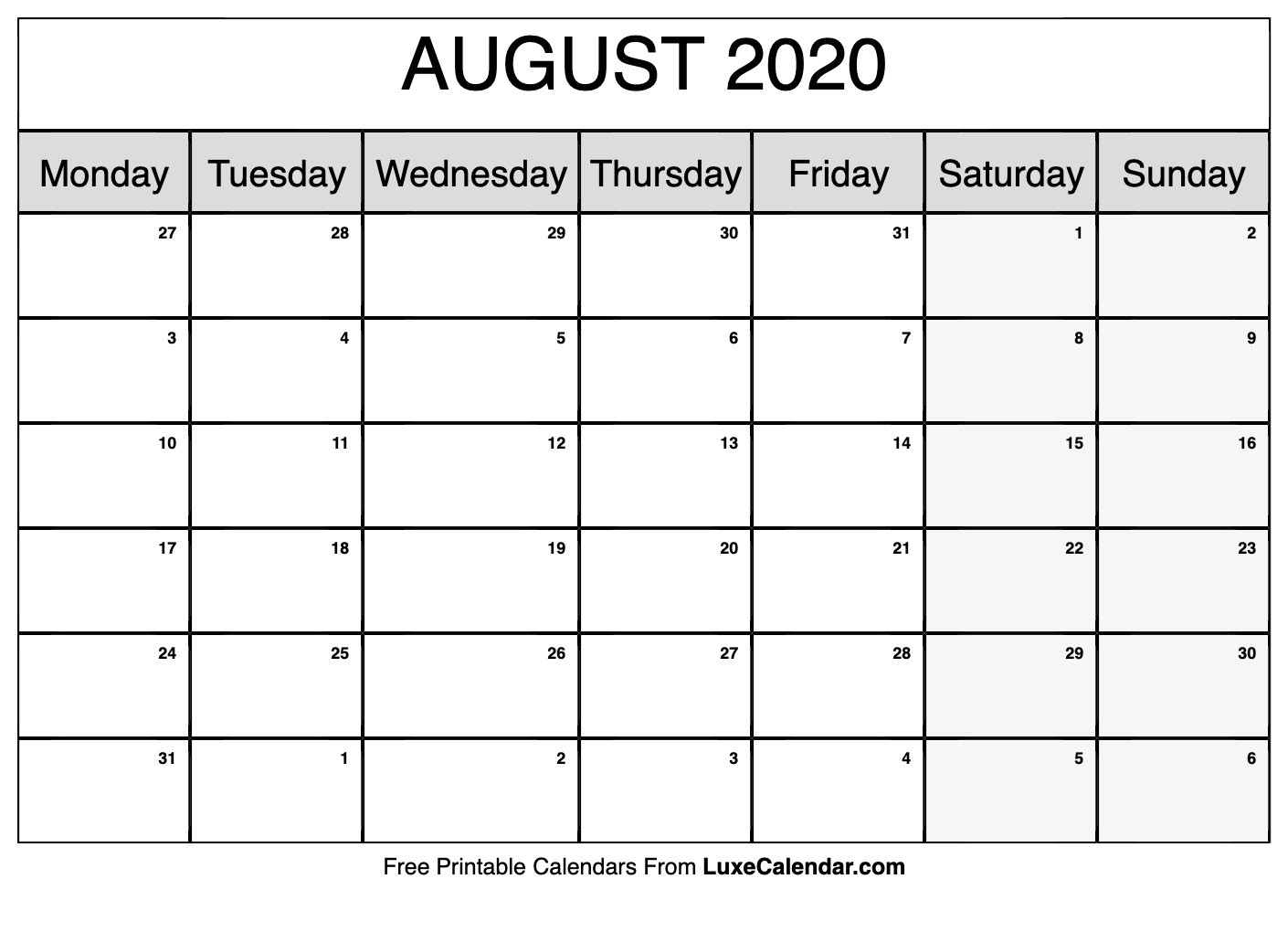 Blank August 2020 Calendar Printable - Luxe Calendar  August 2020 Calendar With Lines