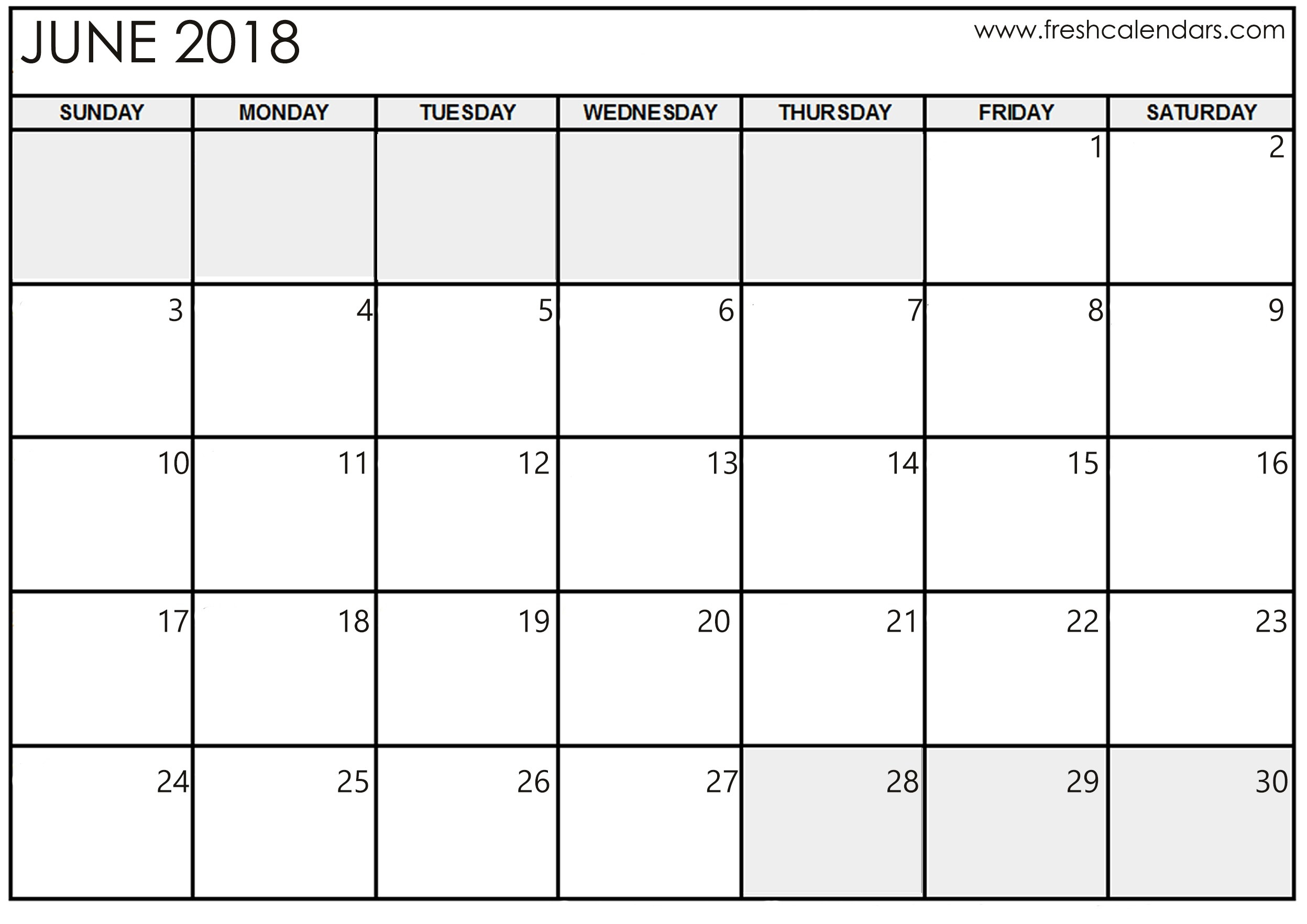 Blank Calendar June 2018 Printable Template Download - July  Blank Full Page Calendar Printable June