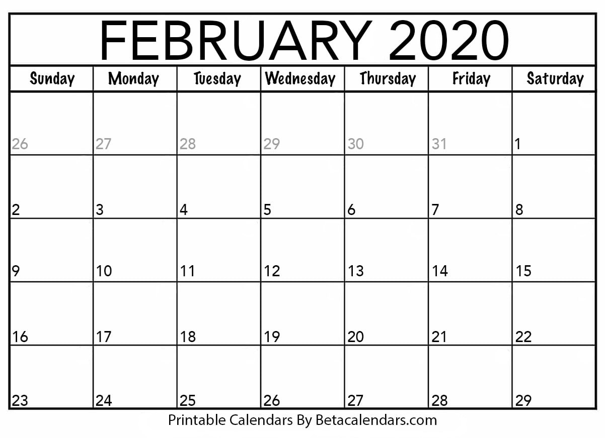 Blank February 2020 Calendar Printable - Beta Calendars  Full Page Blank Calendar Printable 2020