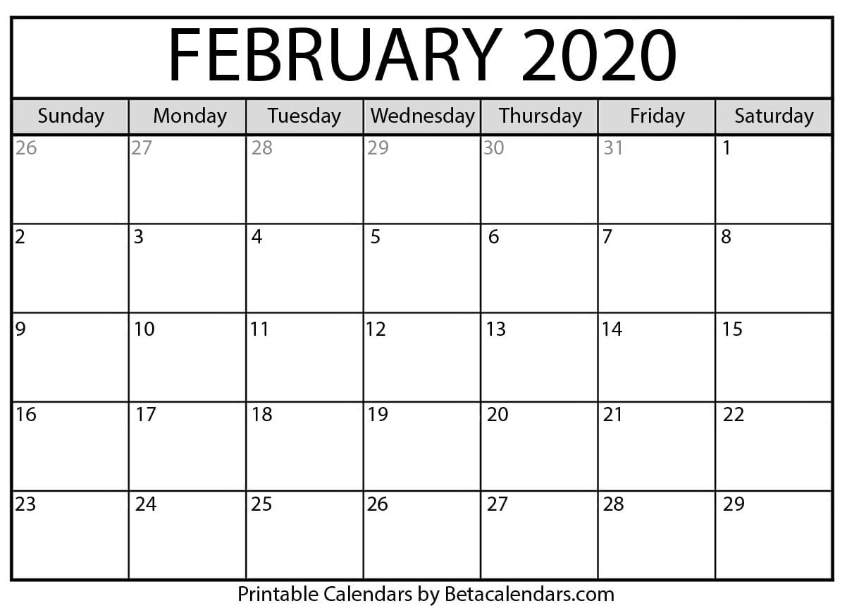 Blank February 2020 Calendar Printable - Beta Calendars  Solar Lunar Calendar - 2020
