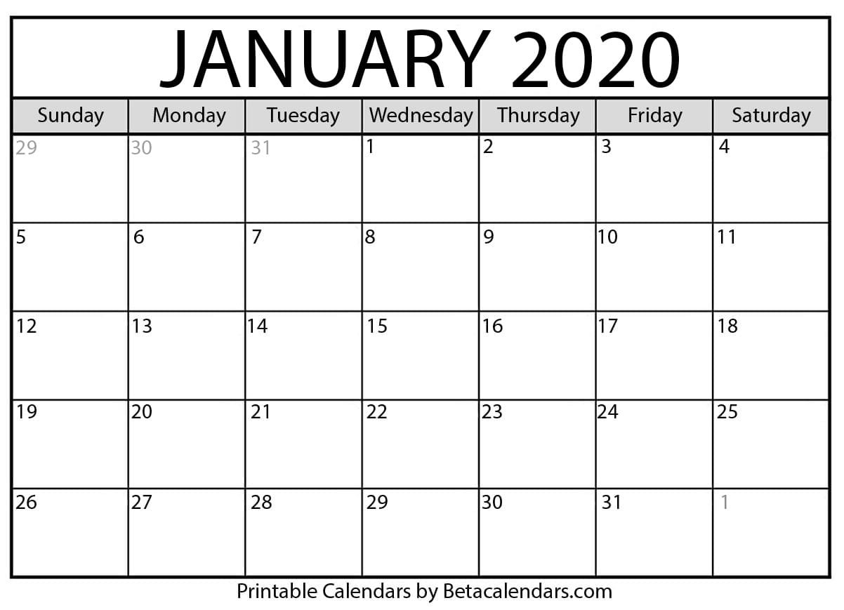 Blank January 2020 Calendar Printable - Beta Calendars  Full Page Blank Calendar Printable 2020