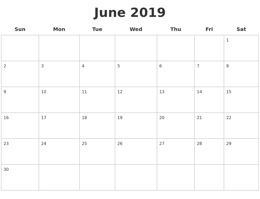 Blank June 2019 Calendar Template In Pdf, Jpg And Png Format  Blank Full Page Calendar Printable June