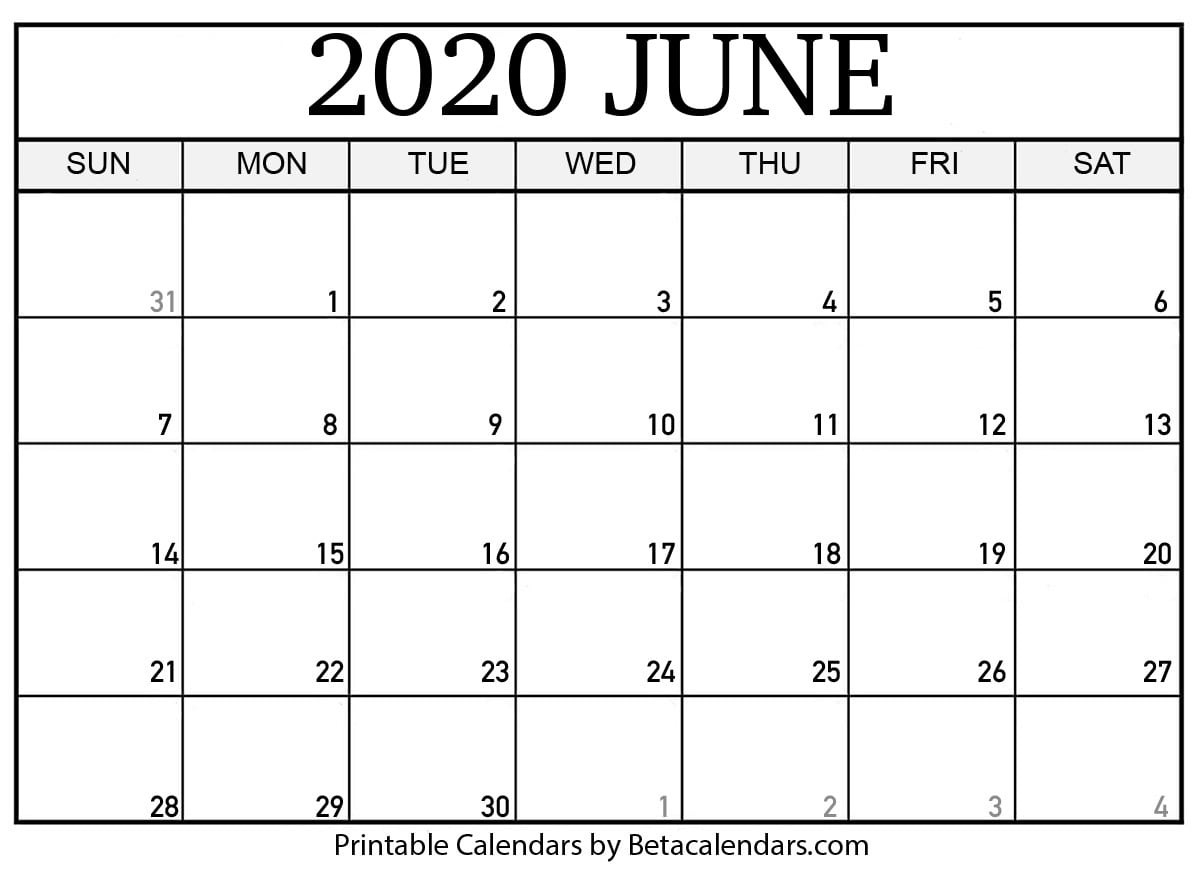 Blank June 2020 Calendar Printable - Beta Calendars  United Methodist 2020 Calendar
