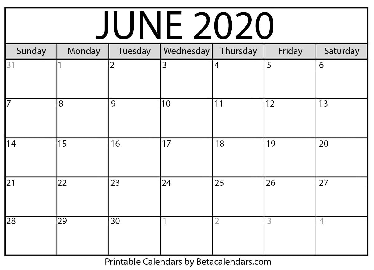 Blank June 2020 Calendar Printable - Beta Calendars  United Methodist Church Calendar 2020