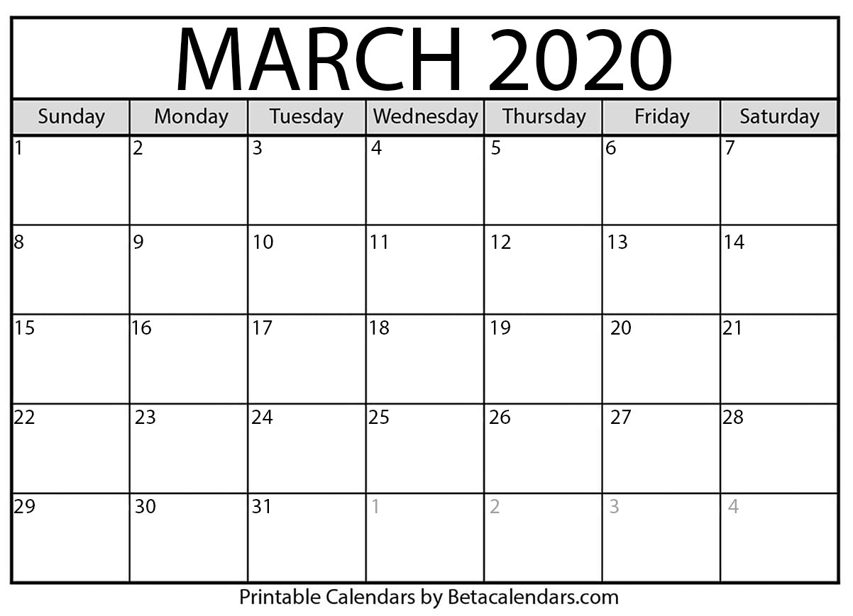 Blank March 2020 Calendar Printable - Beta Calendars  Blank Calendar Fill In 2020 Printable
