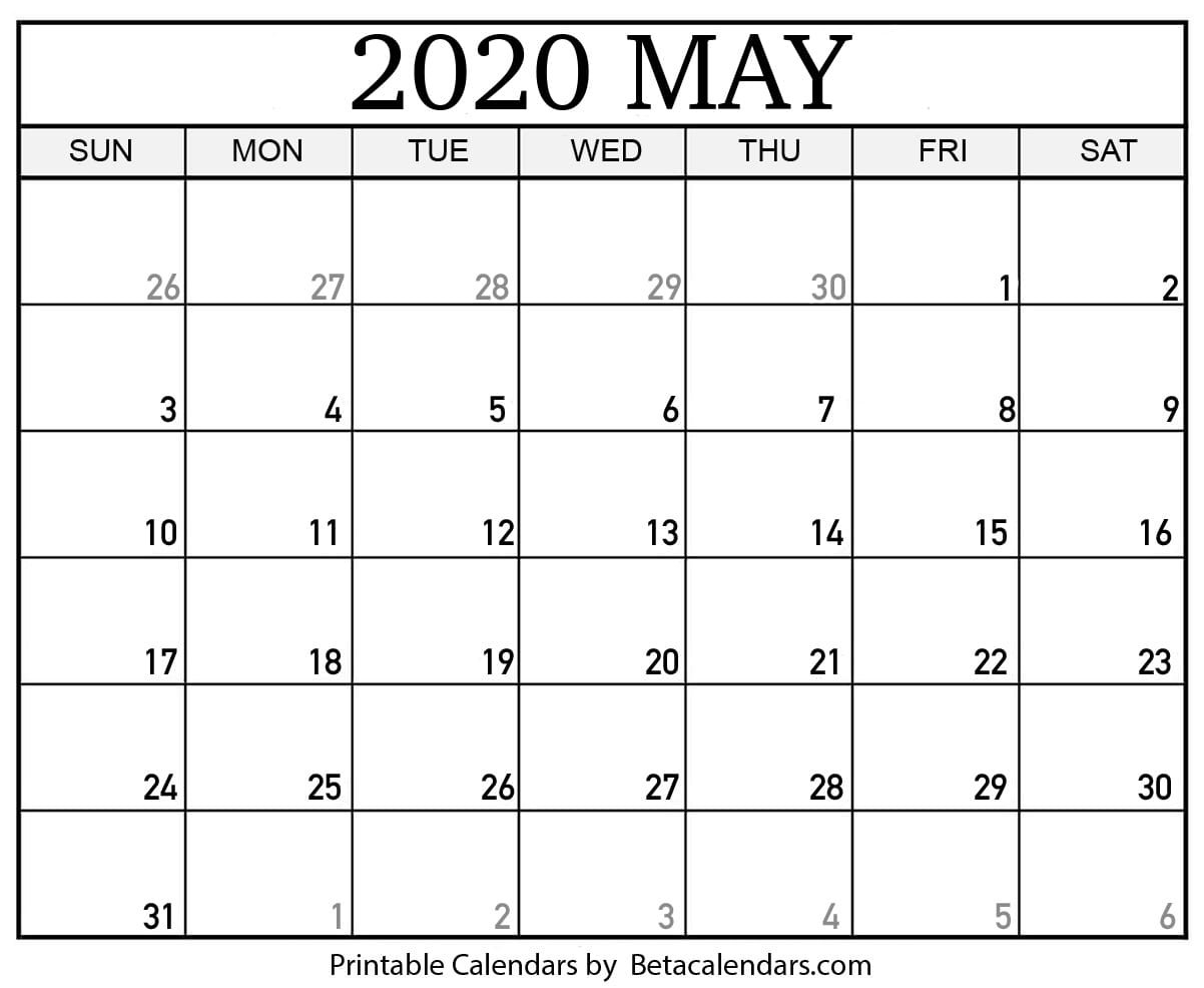 Blank May 2020 Calendar Printable - Beta Calendars  2020 Calendar Template With Catholic Holidays