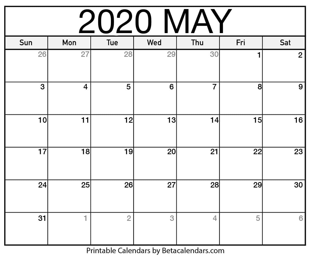 Blank May 2020 Calendar Printable - Beta Calendars  Military Julian Calendar 2020