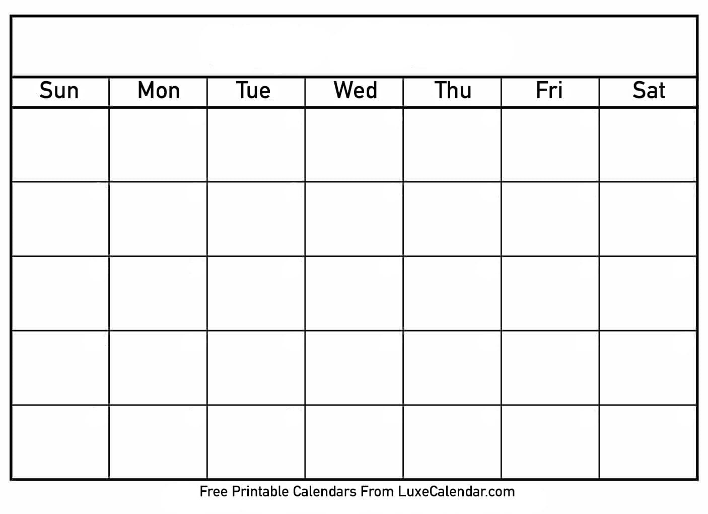 Blank Printable Calendar - Luxe Calendar  Printable Fill In Calendar Temoplate