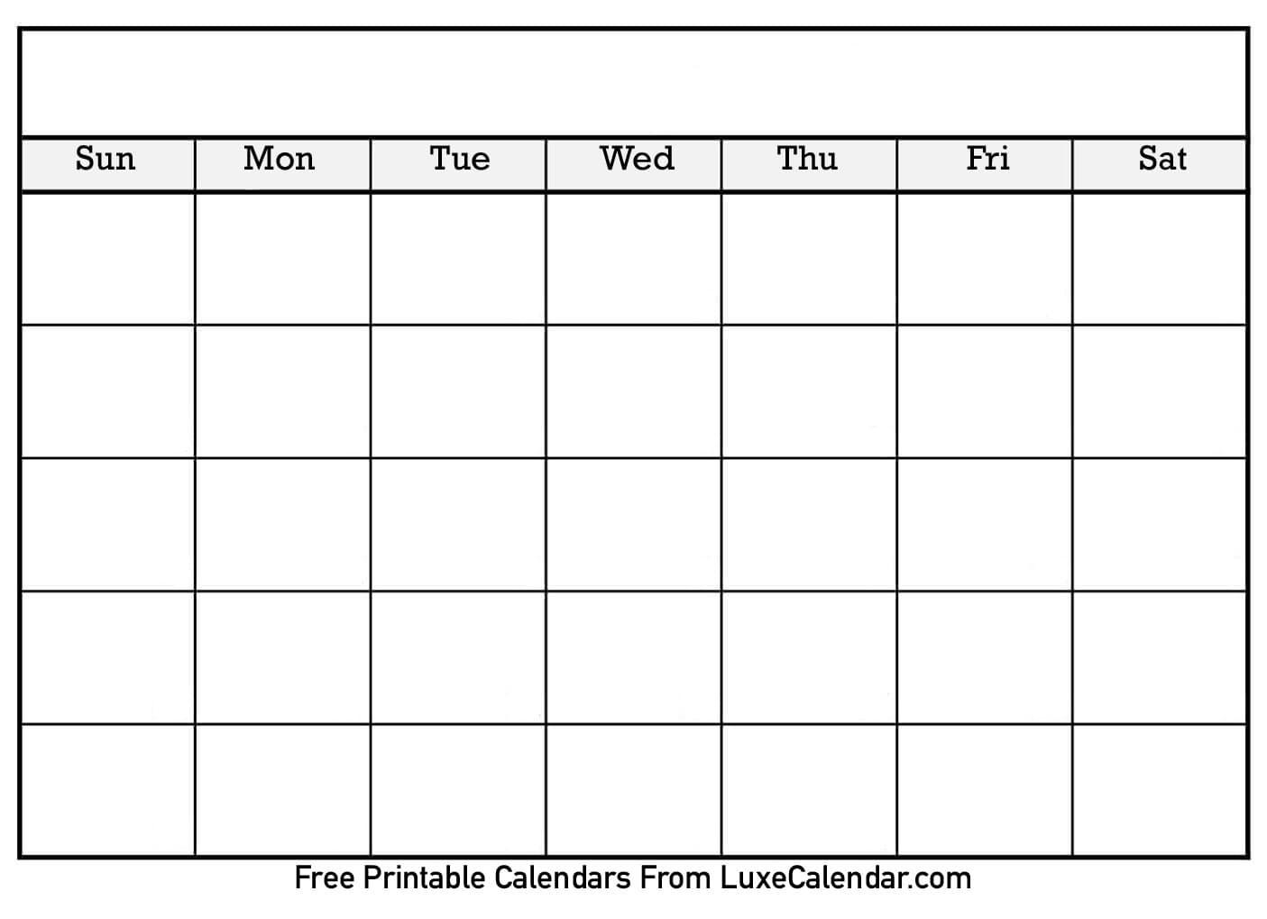 Blank Printable Calendar - Luxe Calendar  Printable Full Page Monthly Calendar Blank