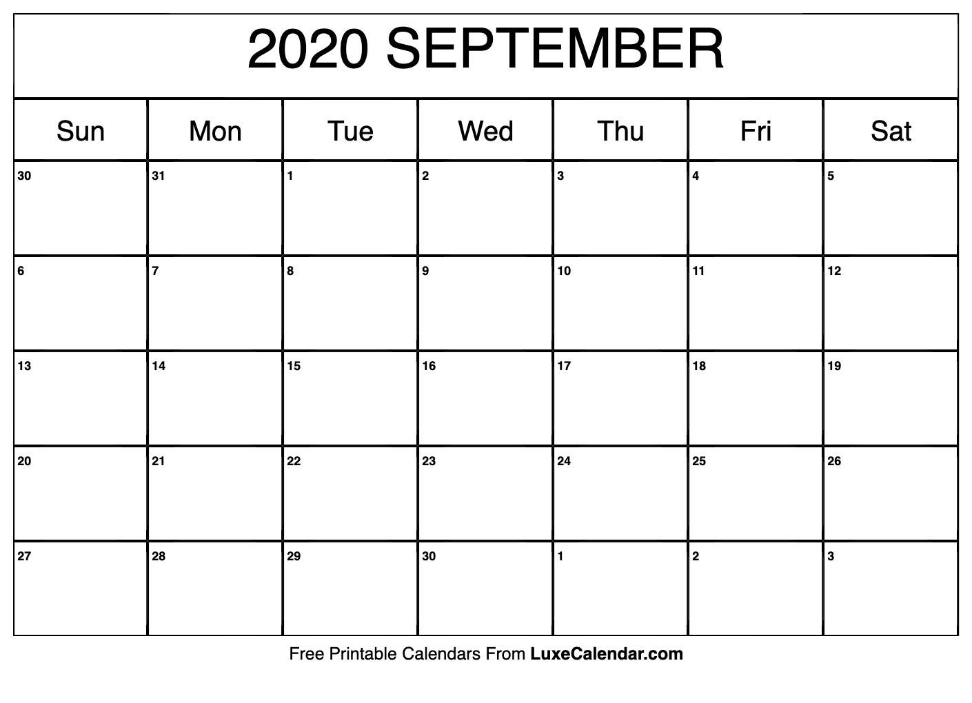 Blank September 2020 Calendar Printable - Luxe Calendar  Blank September Calendar 2020 Monday Through Sunday
