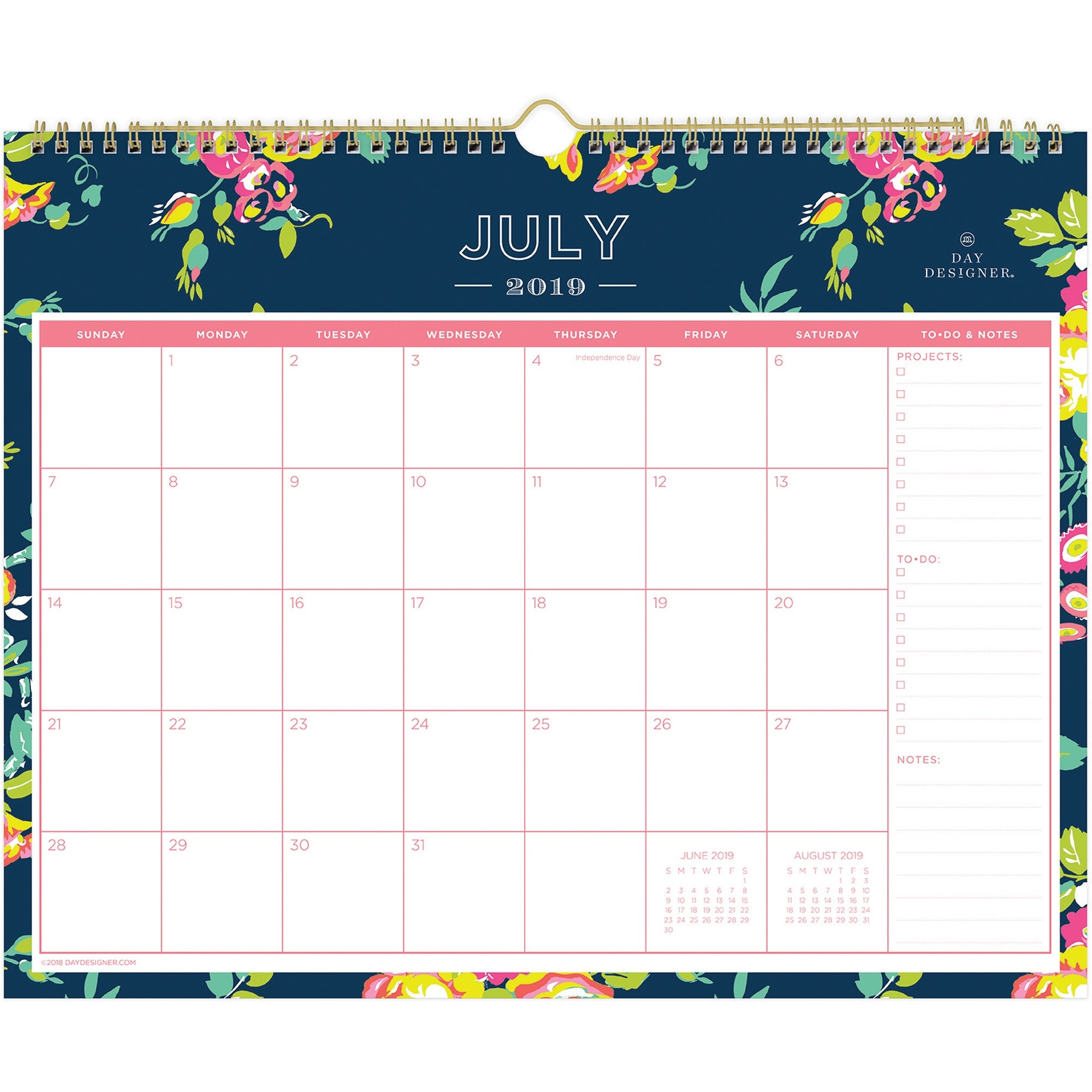 Blue Sky Peyton Navy Floral Wall Calendar - Academic - Yes - Monthly - 1  Year - July 2019 Till June 2020 - Twin Wire - Wall Mountable - Navy, Navy  Official Navy Calendar Template With Julian Dates 2020