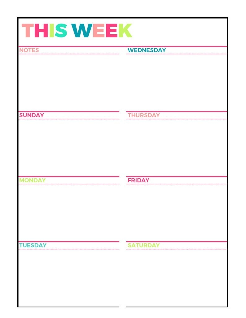 Bright Weekly Planner Printable, Week On 1 Page, Undated,letter  Size,grid,lined, Blank Style, Sunday And Monday Week Start, Instant Download  Monday To Friday Planner