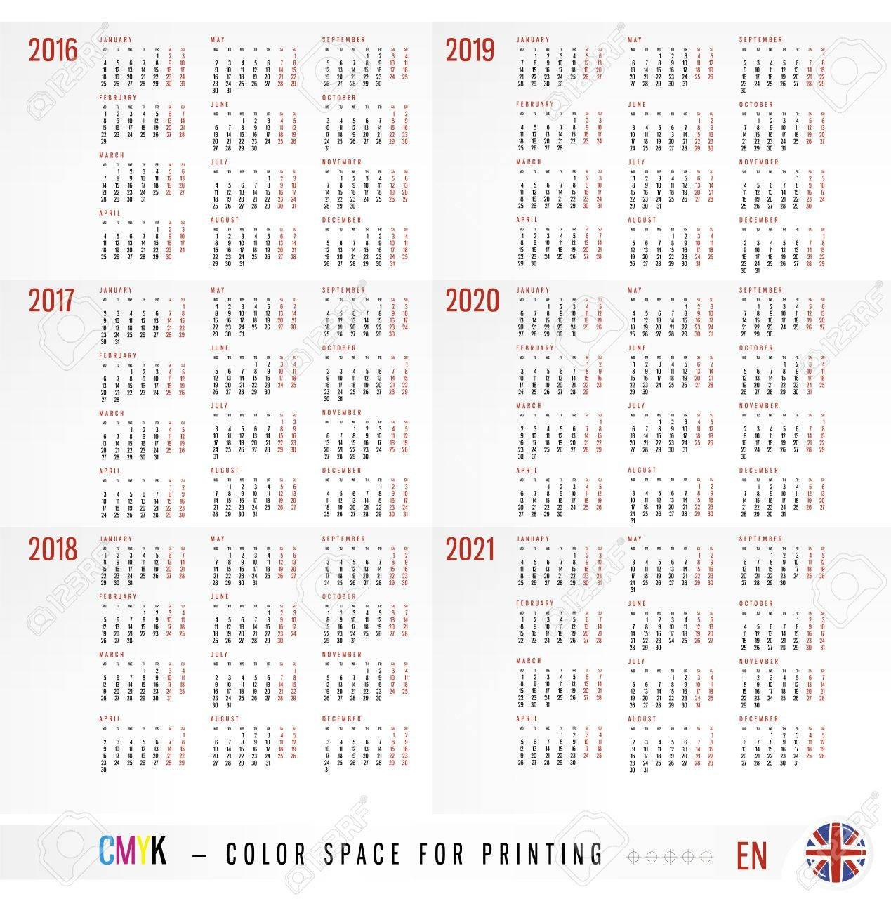 Calendar 2016 2017 2018 2019 2020 2021 Years  Ber 2020 Full Page Calendar