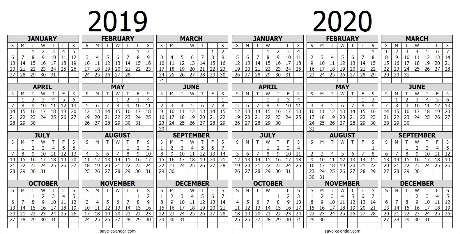 Calendar 2019 2020 One Page | 2019 Calendar | Free Calendar  Full Page Calendar 2020
