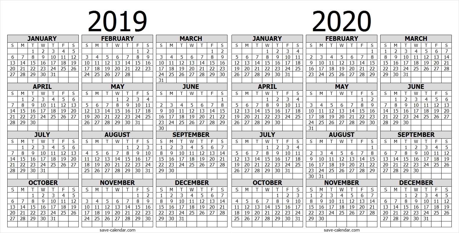 Calendar 2019 2020 One Page | 2019 Calendar | Free Calendar  Printable Full Page Calendar 2020