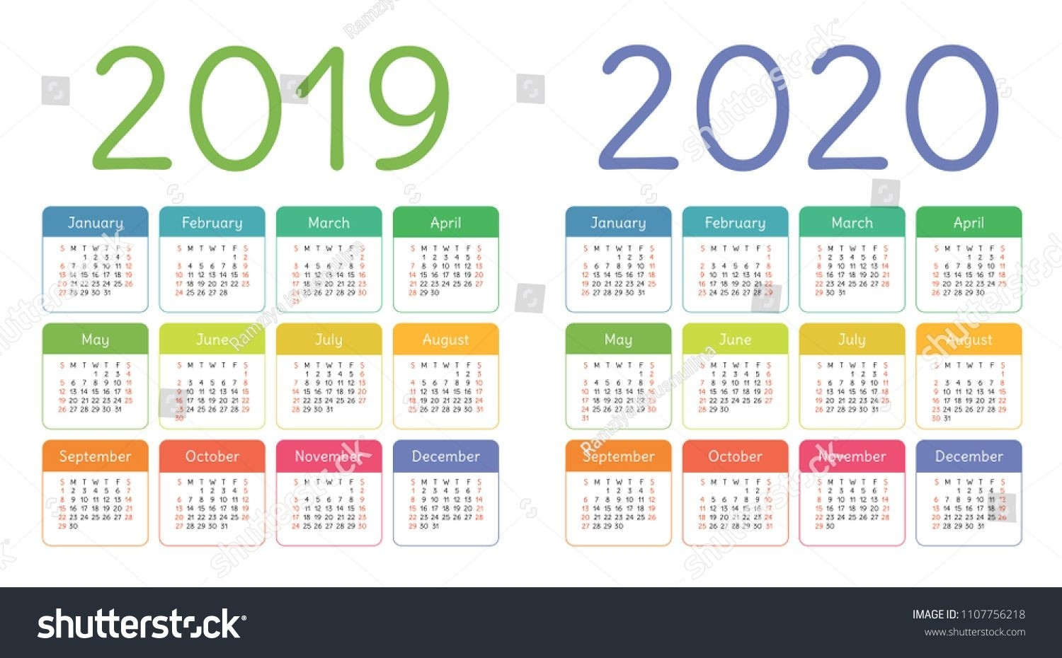 Calendar 2019, 2020 Years. Colorful Calender Set. Week  Methodist Liturgical Calendar 2020