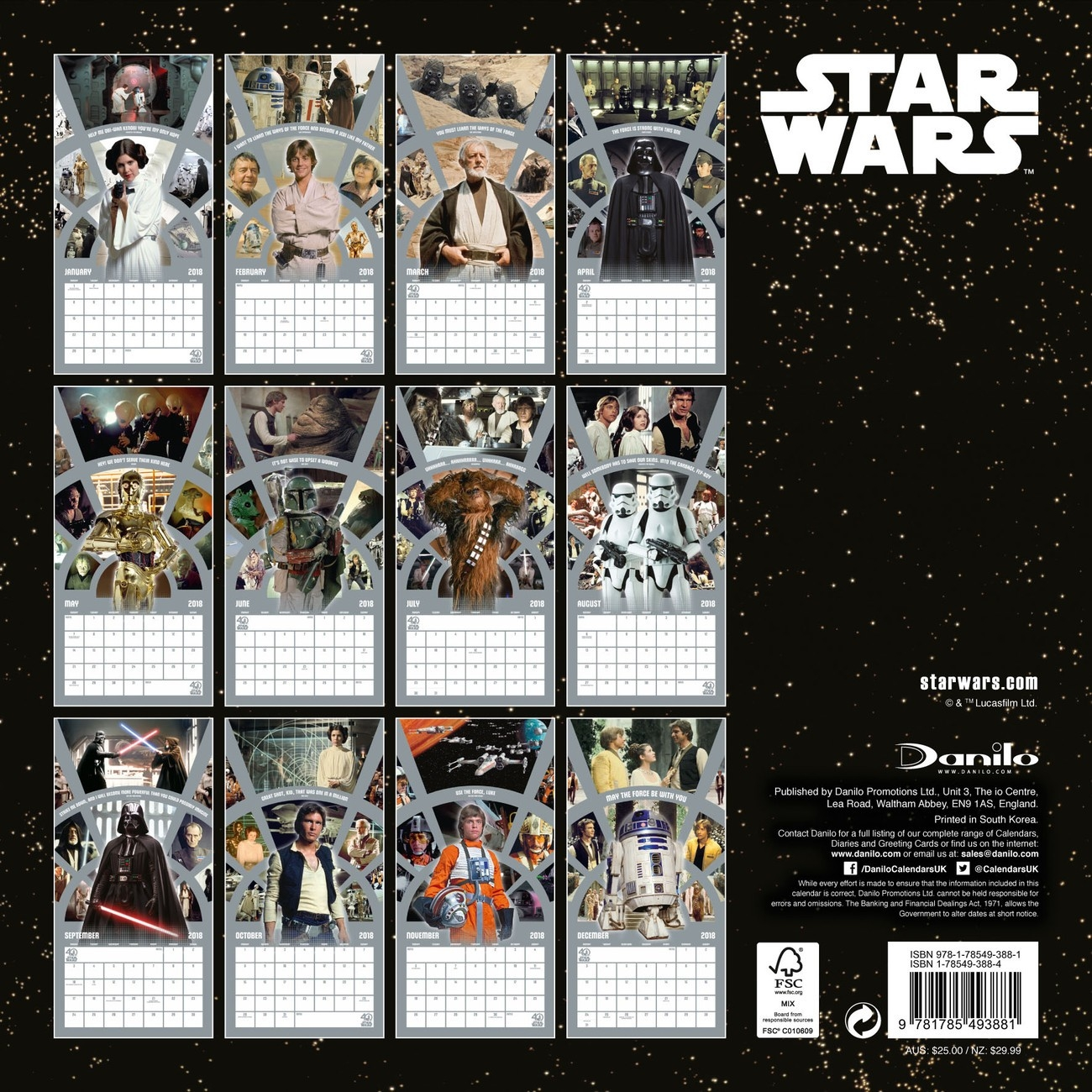 Calendar 2020 Star Wars 40Th Anniversary  Calendario Star Wars 2020 Para Imprimir