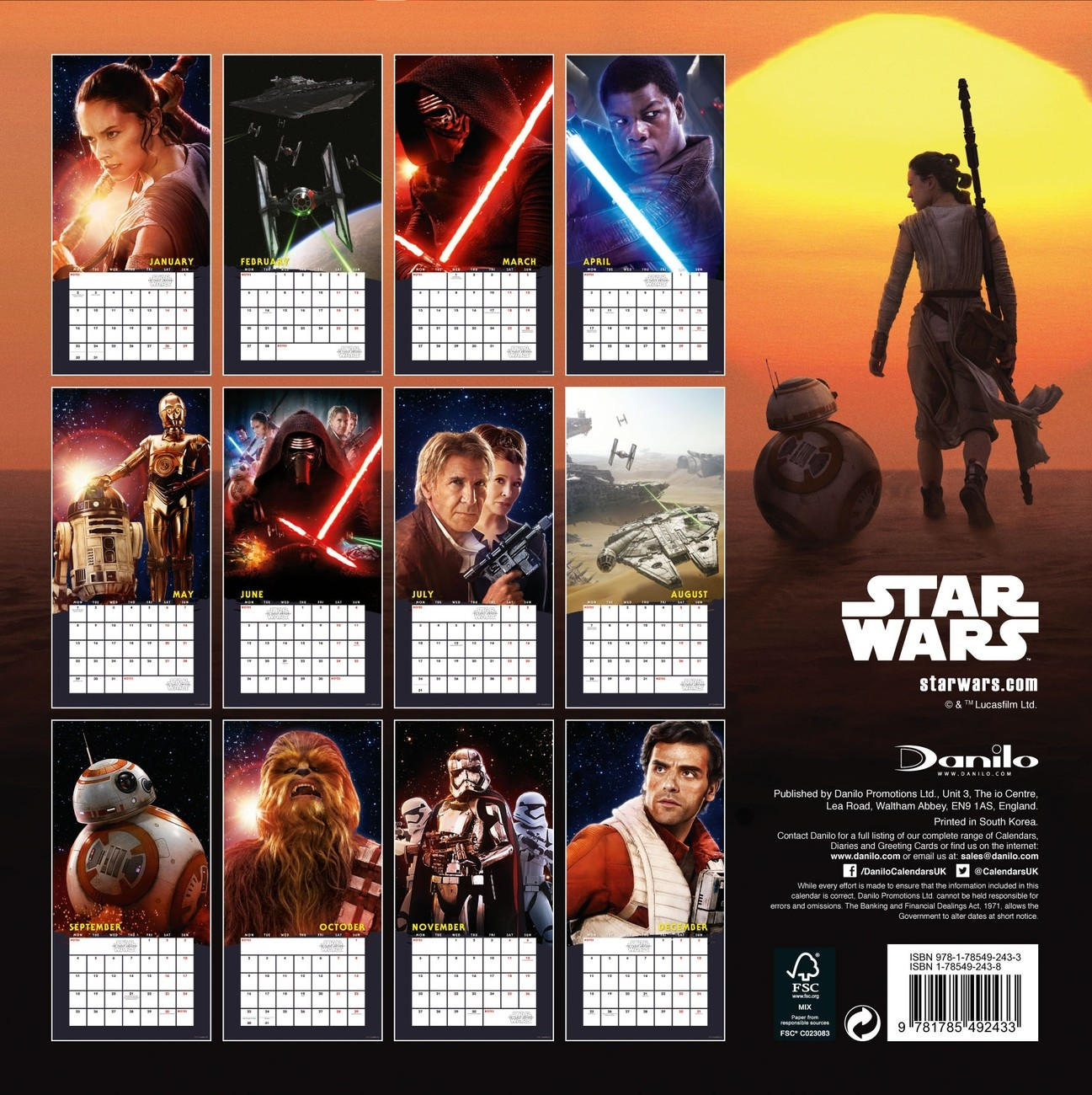Calendar 2020 Star Wars: Episode Vii  Calendario Star Wars 2020 Para Imprimir