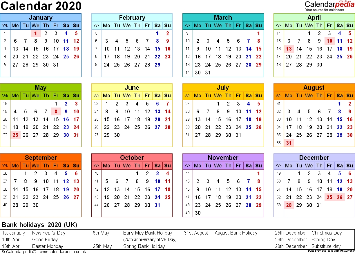 Calendar 2020 (Uk) - 16 Free Printable Pdf Templates  +2020 Calender Month By Month